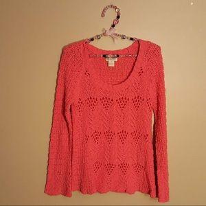 Lucky brand salmon open knit sweater size medium